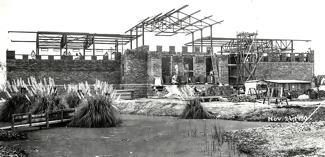 In this photograph from late November 1930, workmen were close to having the walls of the gallery- museum completed. The building's Roman tapestry brick was manufactured locally by the Stockton Brick and Tile Company whose brickyard was located on South McKinley Avenue.